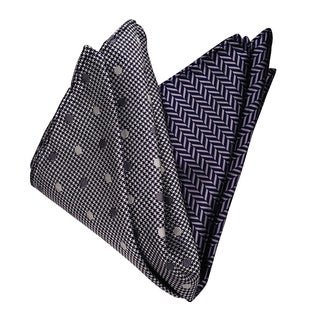 Dmitry Men's Grey and Navy Italian Silk Pocket Squares (Pack of 2)
