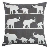 Rizzy Home Elephants Cotton Decorative Throw Pillow