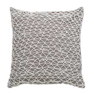 Rizzy Home Lace Netting 18-inch x 18-inch Cotton Decorative Filled Throw Pillow