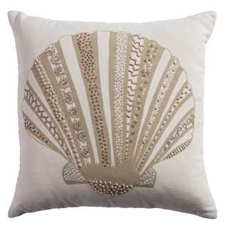 Rizzy Home Tan Cotton Seashell Throw Pillow