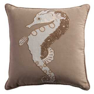 Rizzy Home Seahorse Tan Cotton 18-inch Square Throw Pillow