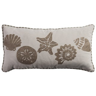 Rizzy Home Cotton Conch, Sand Dollar, and Starfish Embroidered Throw Pillow