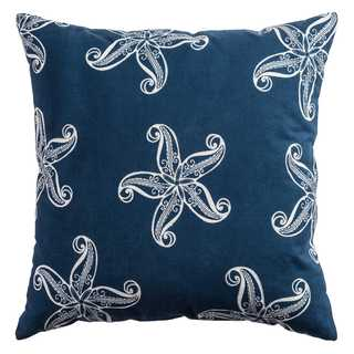 Rizzy Home Starfish Blue Cotton 20-inch x 20-inch Decorative Filled Throw Pillow