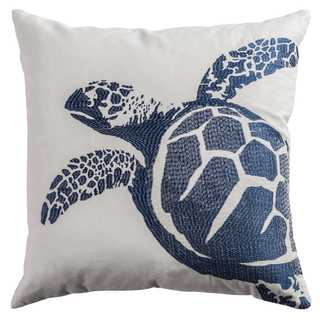 Rizzy Home White and Blue Cotton Turtle Throw Pillow