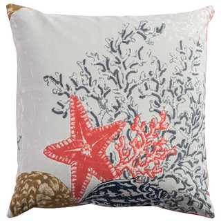 Rizzy Home Starfish & Coral Grey Cotton 20-inch x 20-inch Decorative Throw Pillow