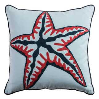 Rizzy Home Starfish Grey Cotton 18-inch Square Throw Pillow