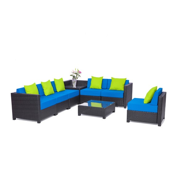 8PC Deluxe Outdoor Garden Patio Rattan Wicker Furniture Sectional Blue - Shop 8PC Deluxe Outdoor Garden Patio Rattan Wicker Furniture