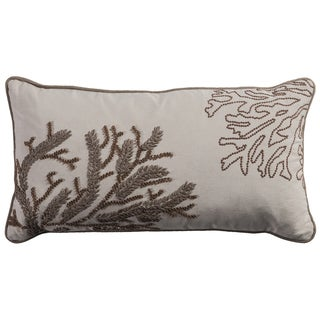 Rizzy Home Coral Tan Cotton 11-inch x 21-inch Ribbon Embroidery and Hand Beading Throw Pillow