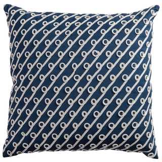 Rizzy Home Diagonal Stripes and Swoops Navy Cotton 20-inch Square Throw Pillow
