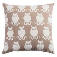 Rizzy Home Owl Tan Cotton 20-inch x 20-inch Decorative Filled Throw Pillow