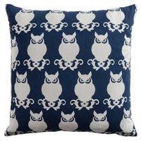 Rizzy Home Owl Blue/White Cotton 20-inch x 20-inch Decorative Throw Pillow