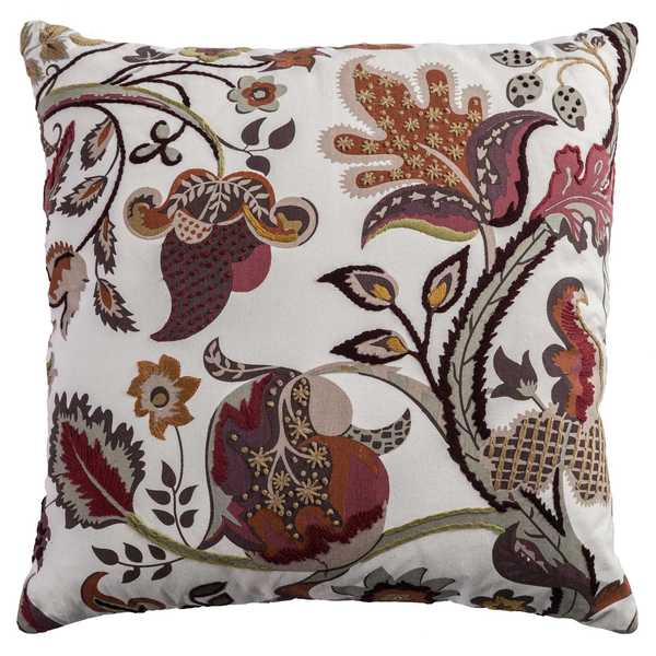 Rizzy Home Off-white Cotton Decorative Floral Throw Pillow