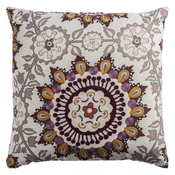 Rizzy Home Ivory Medallion Cotton 20 x 20 Throw Pillow