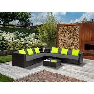 8PC Deluxe Outdoor Garden Patio Rattan Wicker Furniture Sectional Grey