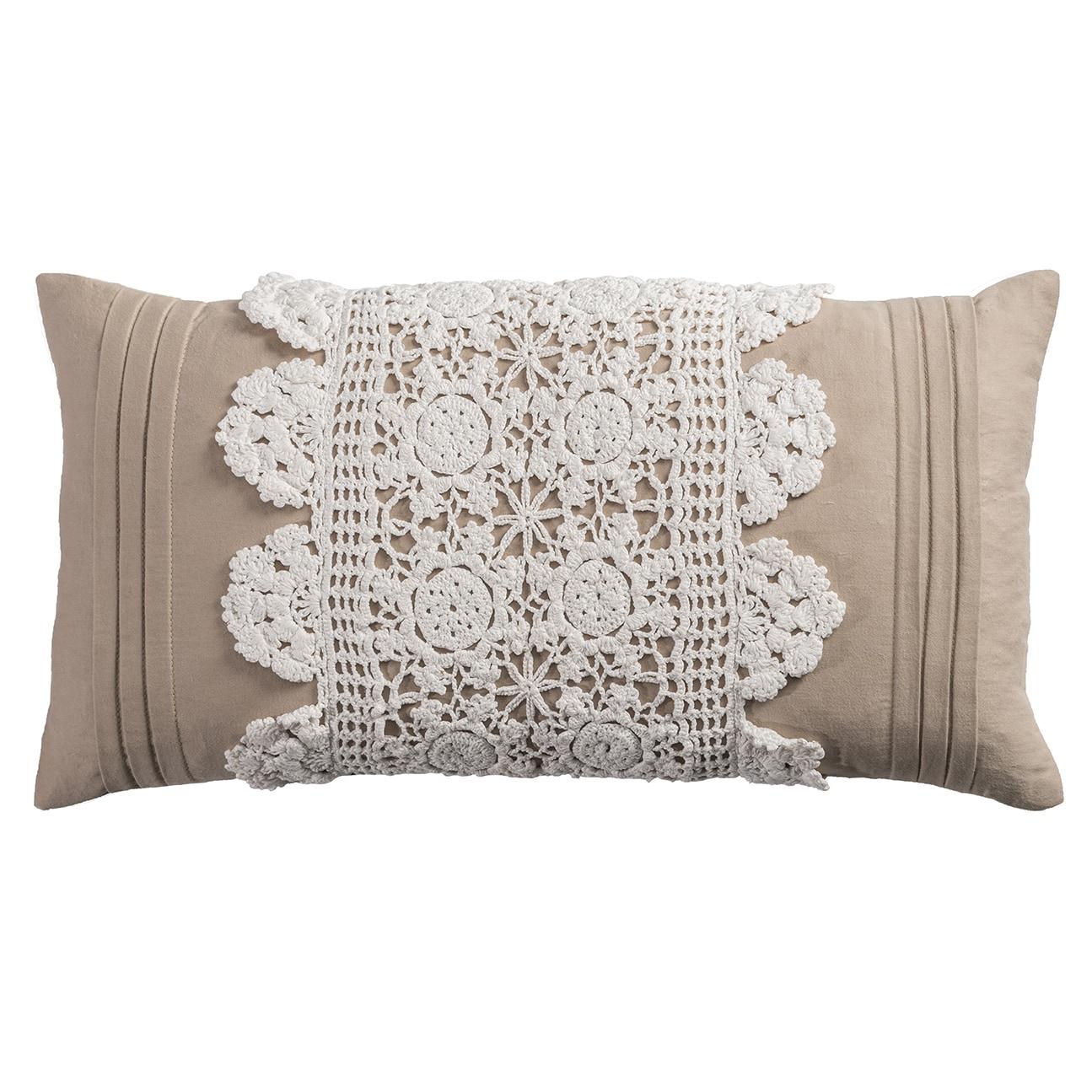 Rizzy Home Cotton 11-inch x 21-inch Crochet Trim Center Decorative Filled Throw Pillow (11 x 21 IVORY crochet trim center)