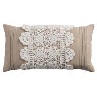 Rizzy Home Cotton 11-inch x 21-inch Crochet Trim Center Decorative Filled Throw Pillow