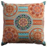 Rizzy Home Orange Cotton Medallion Square Decorative Throw Pillow