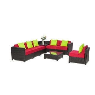 MCombo 8-piece Black Wicker Patio Sectional Sofa Furniture Set-Red