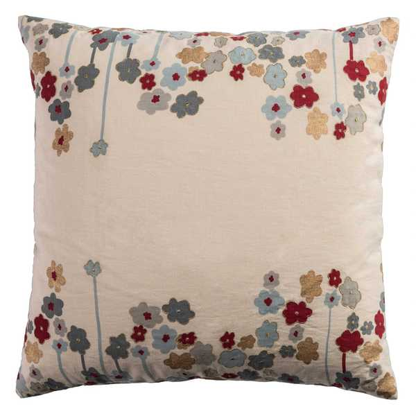 Rizzy Home Tan Cotton 20-inch x 20-inch Floral Throw Pillow