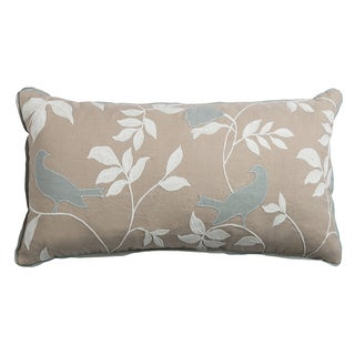 Rizzy Home Brown Cotton 11-inch x 21-inch Floral and Bird Decorative Filled Throw Pillow