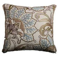 Rizzy Home Tan Floral Cotton 20-inch Square Throw Pillow