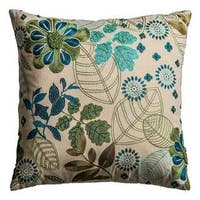 Rizzy Home Floral with Botanical 18-inch x 18-inch Cotton Decorative Filled Throw Pillow