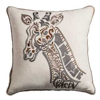 Rizzy Home Cotton 18 x 18 Cotton Polyester-filled Decorative Giraffe Throw Pillow