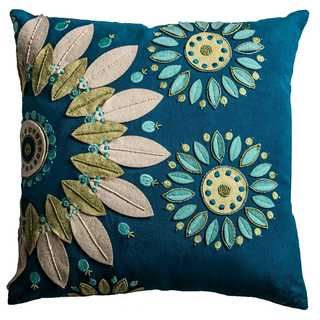 Rizzy Home Cotton 18-inch x 18-inch Floral Decorative Filled Throw Pillow