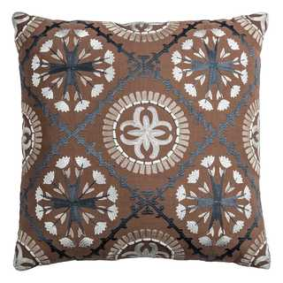 Rizzy Home Medallions Brown Cotton 18-inch Square Throw Pillow