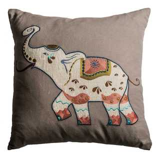 Rizzy Home Elephant Tan Cotton 20-inch Square Throw Pillow