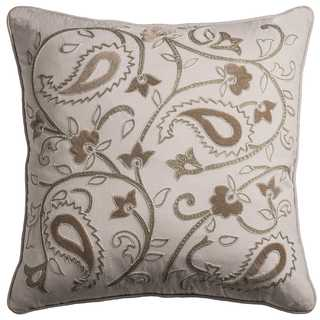 Rizzy Home Vine with Floral 20-inch x 20-inch Cotton Decorative Filled Throw Pillow