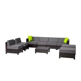 9PC Deluxe Outdoor Garden Patio Rattan Wicker Furniture Sectional Grey
