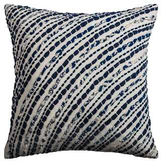 Rizzy Home Navy Cotton Square Decorative Throw Pillow