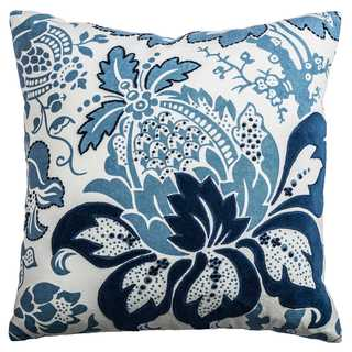 Rizzy Home Blue/White Cotton Floral-patterned Decorative Throw Pillow