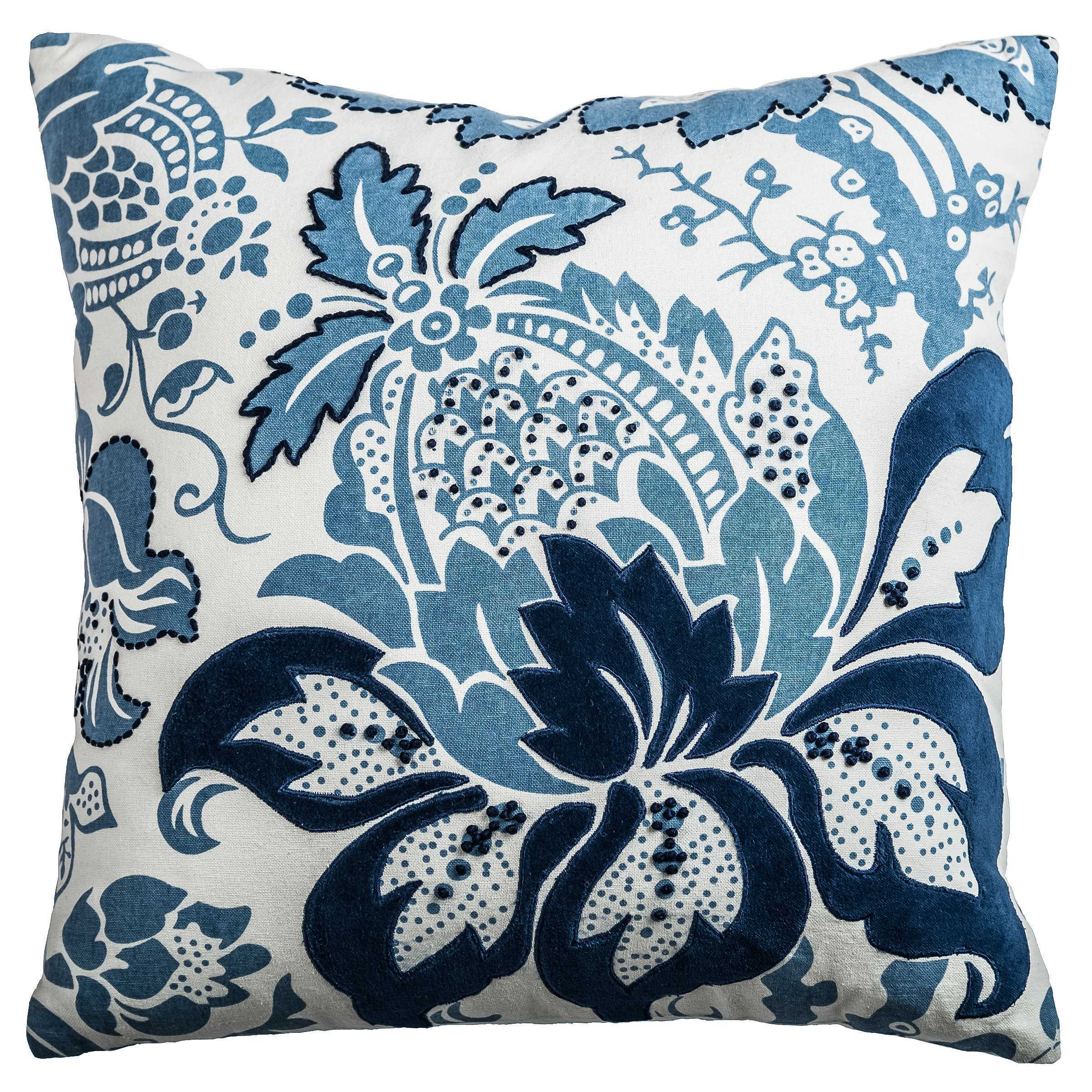 Rizzy Home Blue White Cotton Floral Patterned Decorative Throw Pillow On Sale Overstock 14309720