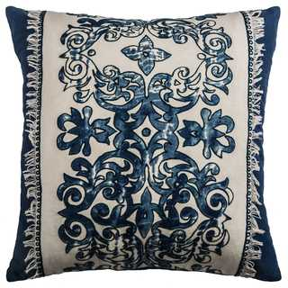 Rizzy Home Floral Navy Cotton 18-inch Square Throw Pillow