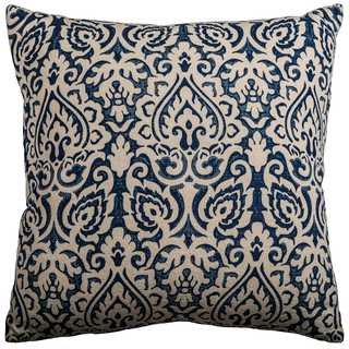 Rizzy Home Blue Cotton Damask Throw Pillow
