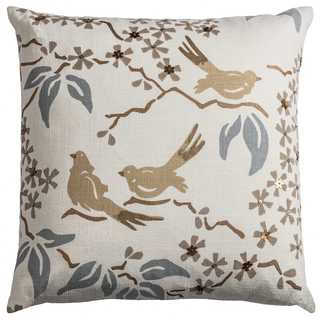 Rizzy Home Floral With Birds Off-white Cotton 18-inch Square Throw Pillow