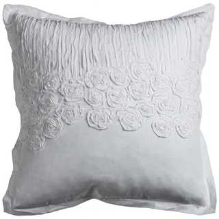 Rizzy Home Flower and Flourish White Cotton 20-inch x 20-inch Decorative Filled Throw Pillow
