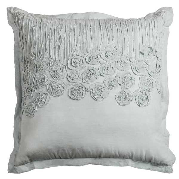 Rizzy Home Flower and Flourish Aqua Blue Cotton 20-inch Applique Decorative Filled Throw Pillow