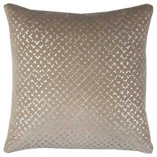 Rizzy Home Brown Cotton Velvet 20-inch x 20-inch Geometric-patterned Decorative Throw Pillow