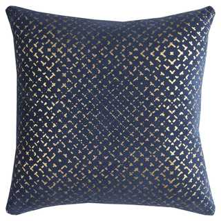 Rizzy Home Geometric Navy Cotton 20-inch Square Throw Pillow