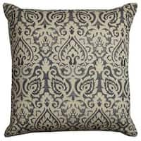 Rizzy Home Damask Grey Cotton 22-inch Square Throw Pillow