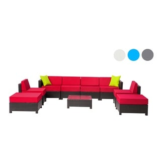 MCombo 9-piece Black Wicker Patio Sectional Sofa Furniture Set-Red