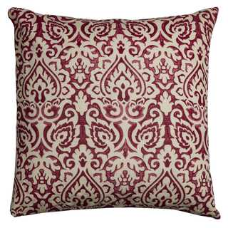 Rizzy Home Damask Red and White Cotton 22-inch Decorative Filled Throw Pillow