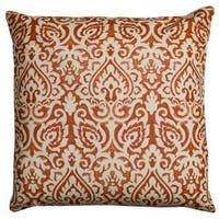 Rizzy Home Damask Orange Cotton 22-inch Square Throw Pillow