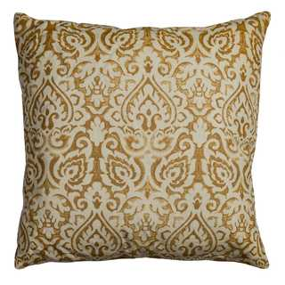 Rizzy Home Damask Gold Cotton 22-inch Square Throw Pillow