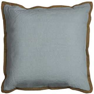 Rizzy Home Solid Blue Cotton 22 x 22 Decorative Filled Throw Pillow