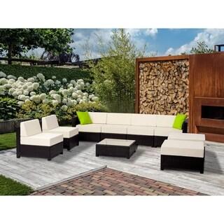 MCombo 9-piece Luxury Black Wicker Patio Sectional Indoor Outdoor Sofa Furniture Set-White