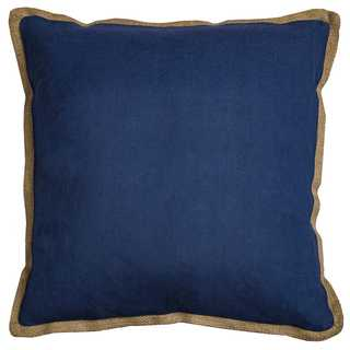 Rizzy Home Solid Navy Cotton and Jute 22-inch Square Throw Pillow